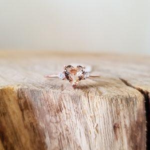 SIZE 8 - 14kt Rose Gold Morganite Sweetheart Ring